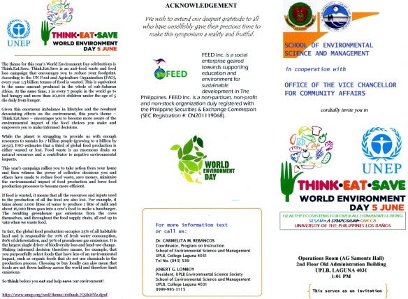 World Environment Day celebrations, June 5th, 2013, UP Los Baños, UNEP, UPLB, PA.