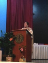 Mrs. Bakker, FEED Chairman, delivering her message to the IBS 2014 BS Biology Graduating Class.