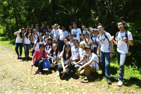 FEED, GeneSoc and LGMO participants flashing their smiles after successfully planting 1030 plant seedlings in a hectare of land at UP Laguna-Quezon Land Grant.