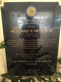 Hon. Mayor Francisco M. Fontanilla,Sr., one of the local leaders responsible for converting the school into a college status through RA No. 5310.